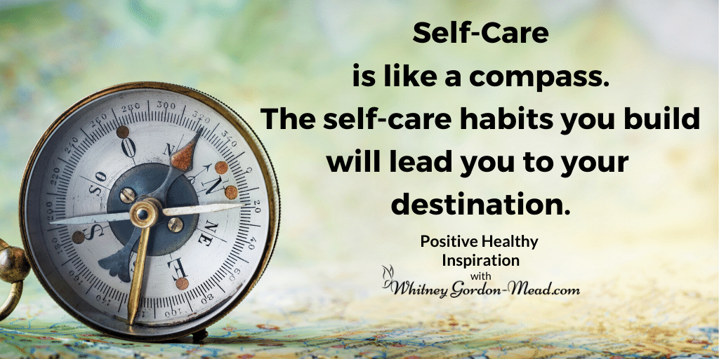 quote about self-care as a compass, background with compass